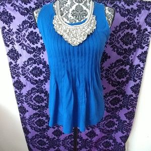 blue pleated shirt size S